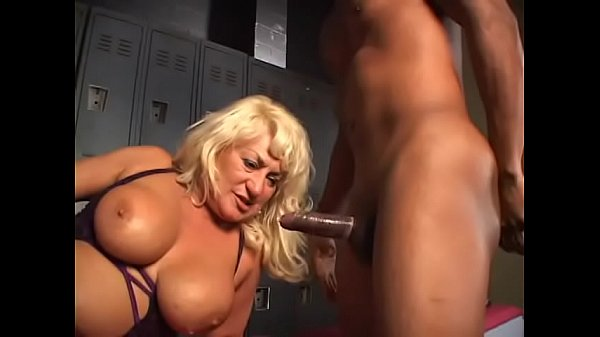 Gorgeous blonde mature chick with nice boobs Dana Hayes loves to be fucked by ebony cock at the locker room