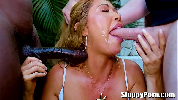 Busty asian MILF Kianna Dior sucks two dicks