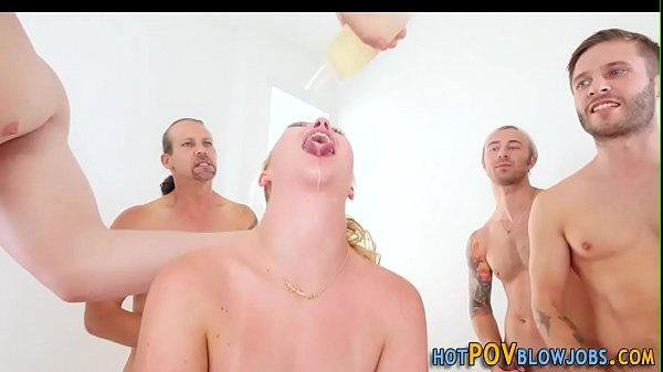 Sluts face jizz drenched