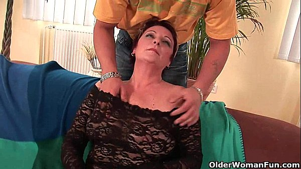 Sexy grandma enjoys his cock in her mouth and h...