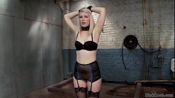 Master whips blonde with wet cloth