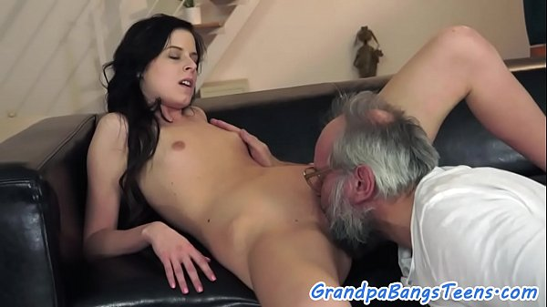 Alluring petite pussyfucked by horny grandpa