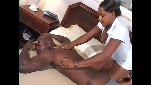 Hot ebony cutie Ms.Paris enjoys her wet pussy penetrated deep by a huge black pole