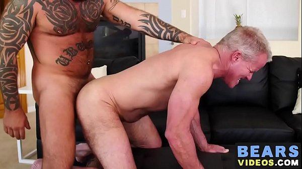 Inked bear treats older homo asshole with rough bareback