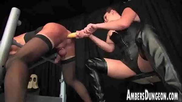 Mistress Lux anal dilling, strap-on and milking of male pig Thumb