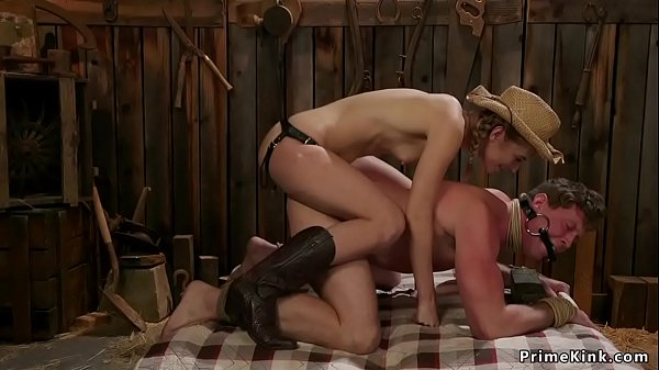 Rancher torments balls to her slave