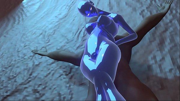 Blue Alien Slime Girl Fucks Human in Cave
