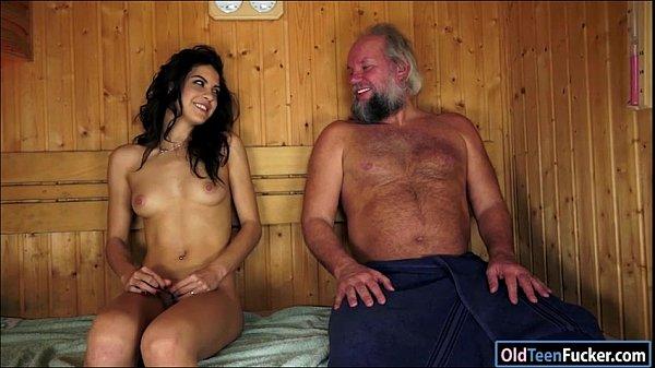 Spanish Carolina Abril suck off old cock eats a...