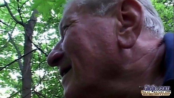 Stout huge titted slut fucking grandpa near a forest