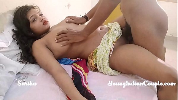 cute juicy Indian teen sarika with her desi lover having amazing hot sex in bedroom filmed in HD