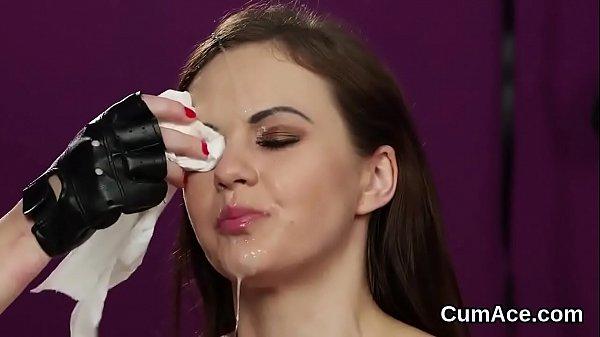Unusual idol gets cumshot on her face gulping a...