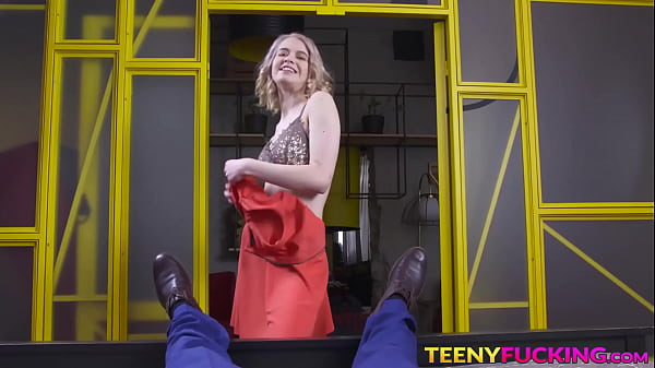 Flat chested young blonde with small tits gets cum