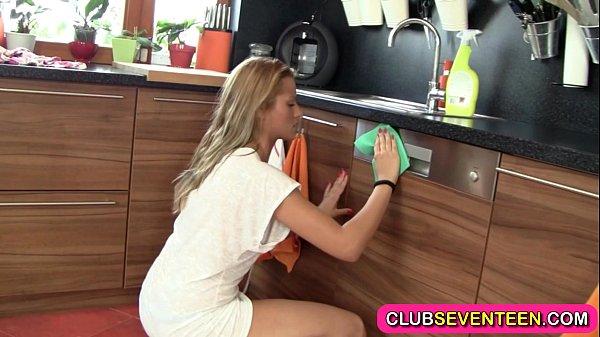 Sexy teenie inserts a spoon Thumb