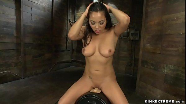 Curvy Latina fucking machines solo
