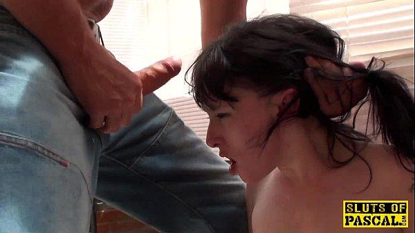 Real brit sub slut dominated with deepthroat