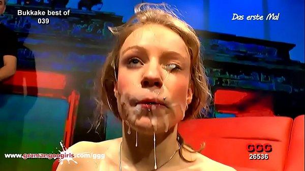 Fresh faced Meli gets face cum creamed - German...