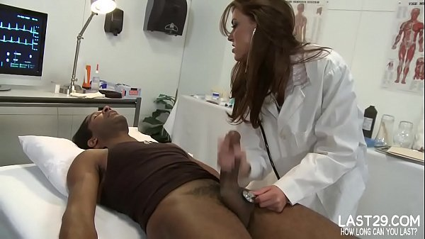 sexy brunette doctor sucks black cock on examination bed Thumb