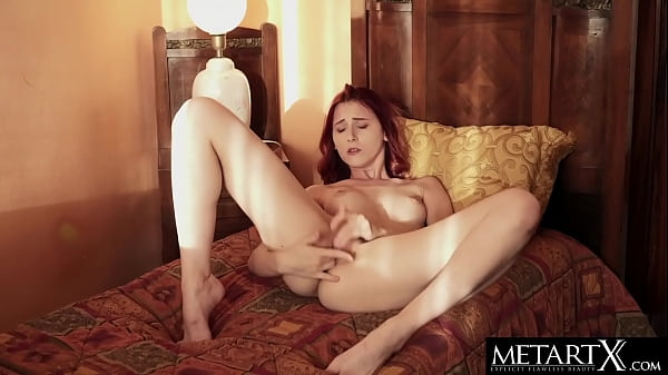 Sexy redhead flashes then fingerfucks herself to a noisy orgasm