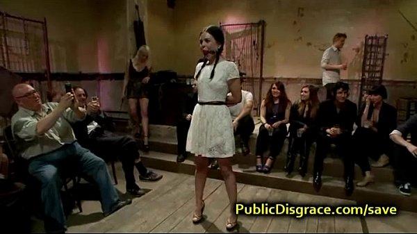 Hot bdsm brunette orgy fucked in public