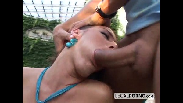 Two sexy chicks share a huge dick by the pool GB-15-03