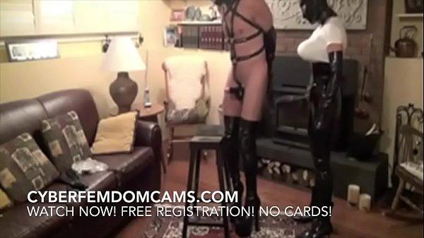 Femdom BDSM Sadictic Latex Mistress Fucks Slave...