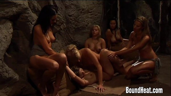 Lesbian Mistress Pleasuring Curvy Slave With St...