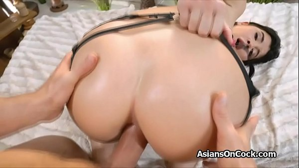 Firm Asian ass filled with cock after dildo