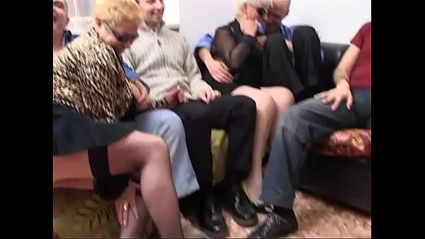 Wild orgy with a mature gangbang