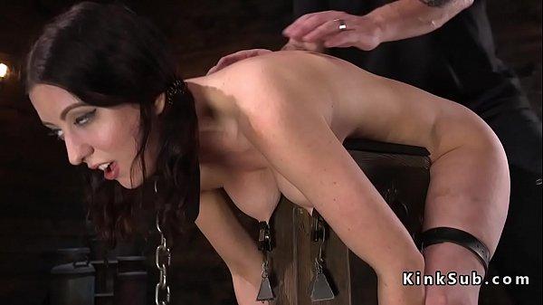 Upside down h. bondage for brunette
