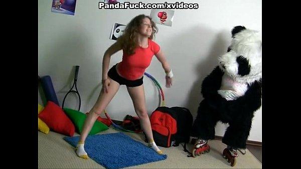 Sporty sexy teen fucks with funny Panda Thumb