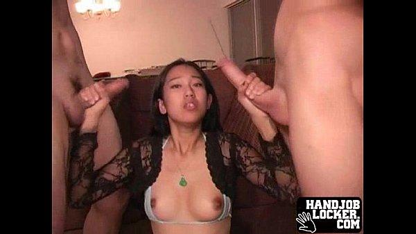 Teen double handjob