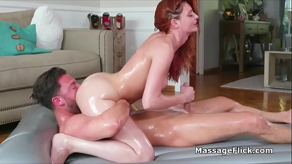 This oily red head masseuse strokes and blows