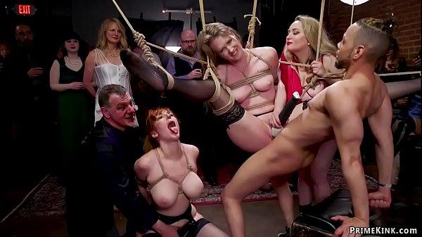 Slaves fucking in airtight bdsm orgy