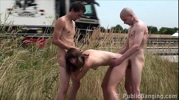 Nude public sex threesome with a hot young girl...