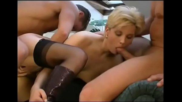 German Blonde 3some In Loft