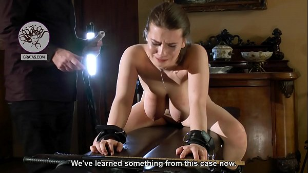 Breast twisting and ass whipping for crying girl
