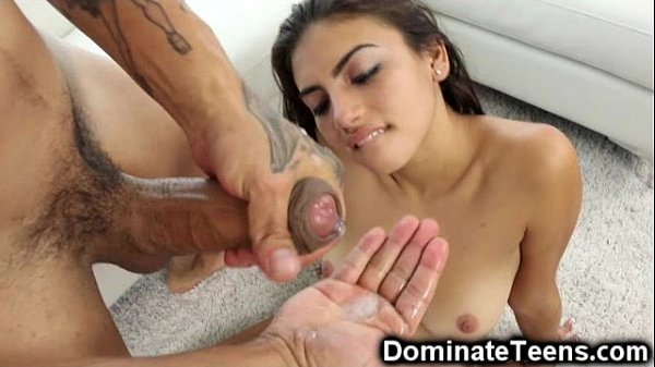 Teen Slapped with a Hand Full of Cum!