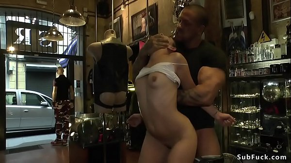 Hot slut gets group fucked in public