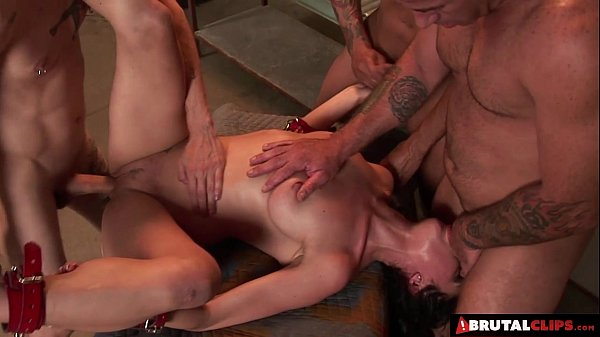 BrutalClips - Captive slut has to drain many cocks