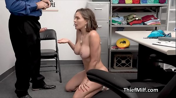 Busty MILF steals butt plug and gets busted