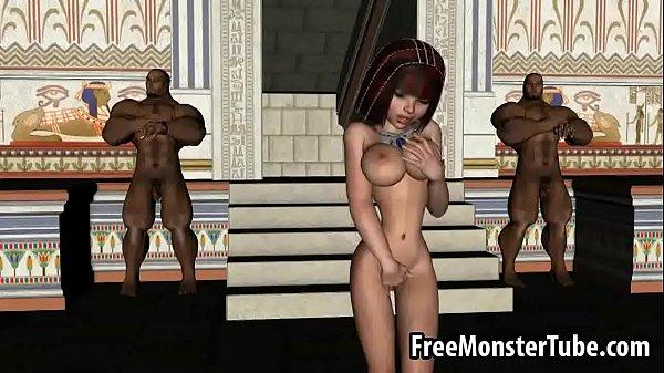 Hot 3D cartoon egyptian babe gets double teamedh 1