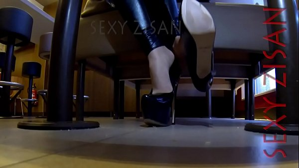 public dangling and shoeplay with tan pantyhose