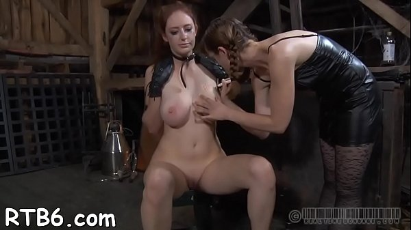 Girl receives a neck collar and legs widen wide open