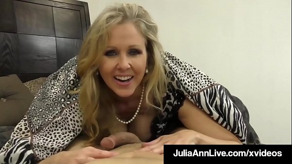 Cock Craving Cougar Julia Ann Gives Lucky Cock Handjob & BJ