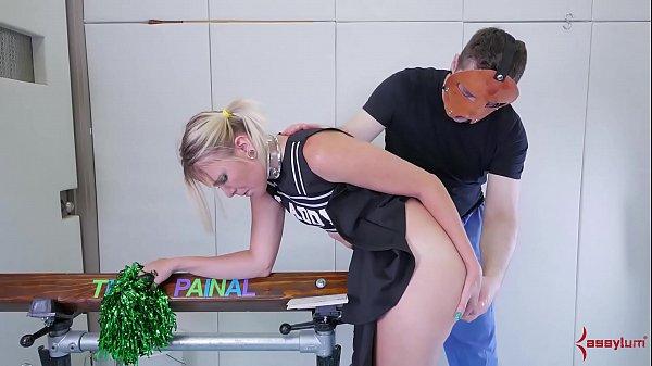 Big-ass cheerleader in braces gets nasty ass-to...