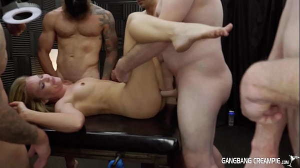 Gangbang Creampie - Naughty Blonde Fit Babe LOVING The Rough Creampies