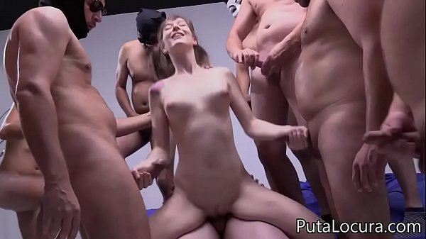 10 cumshots in the pussy of the Spanish Denise, Creampie Gangbang