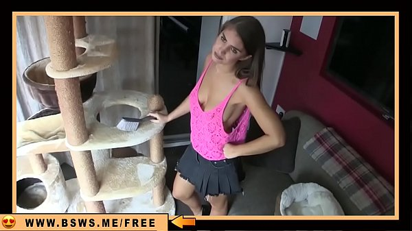 House wife cleaning down blouse real boobs no bra