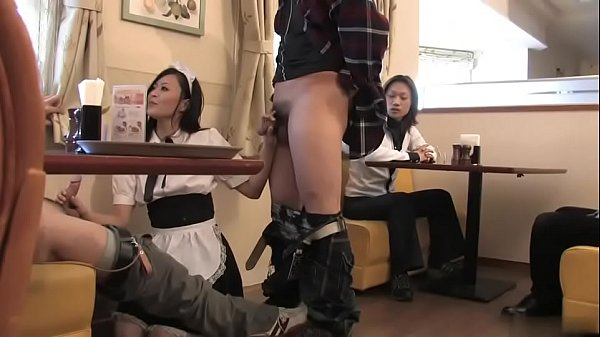 Hot brunette waitress has threesome fuck in a restaurant Thumb