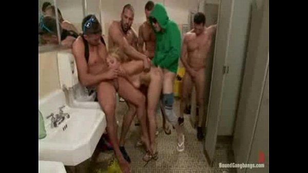Bound in janitor's supplies, gangbanged, Dp'ed, and covered in cum